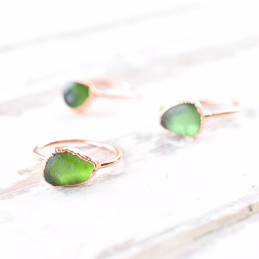 GREEN ENGLISH SEA GLASS RING IN RECYCLED COPPER