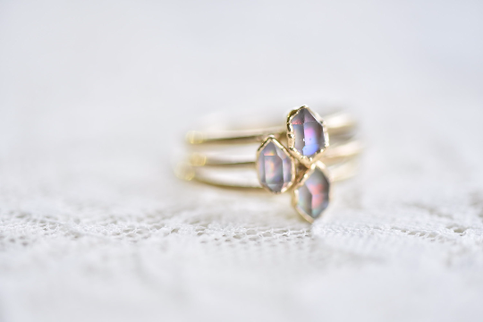 HERKIMER DIAMOND AND OPAL RING IN GOLD & RECYCLED COPPER