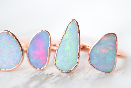 NATURAL AUSTRALAIN OPAL RING IN RECYCLED COPPER