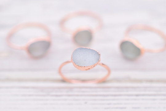 ENGLISH SEA GLASS RING IN RECYCLED COPPER
