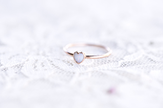 OPAL HEART RING IN ROSE GOLD