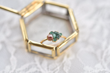 GOLD RAW EMERALD AND ORANGE GARNET RING