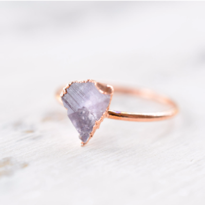 RAW ENGLISH UV REACTIVE FLUORITE CRYSTAL RINGS IN COPPER