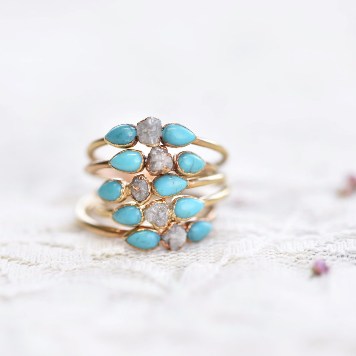 PLATED RAW DIAMOND AND TURQUOISE RING IN RECYCLED COPPER