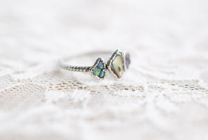 THREE STONE PAUA/ABALONE SHELL RING IN FINE SILVER