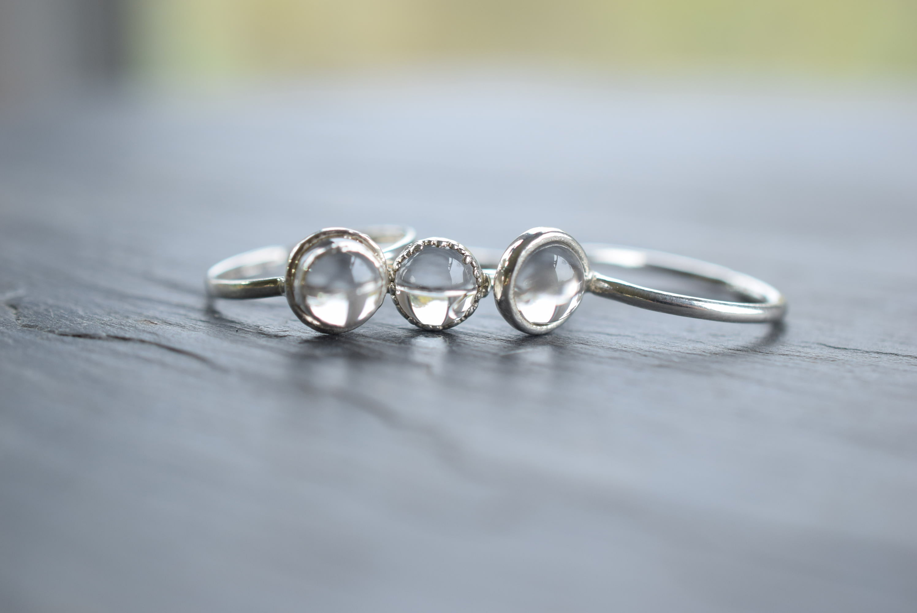 MINATURE QUARTZ 'PORTABLE CRYSTAL BALL' RING IN FINE SILVER