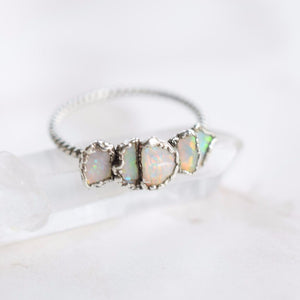 MULTI STONE RAW AUSTRALIAN OPAL RING IN FINE SILVER