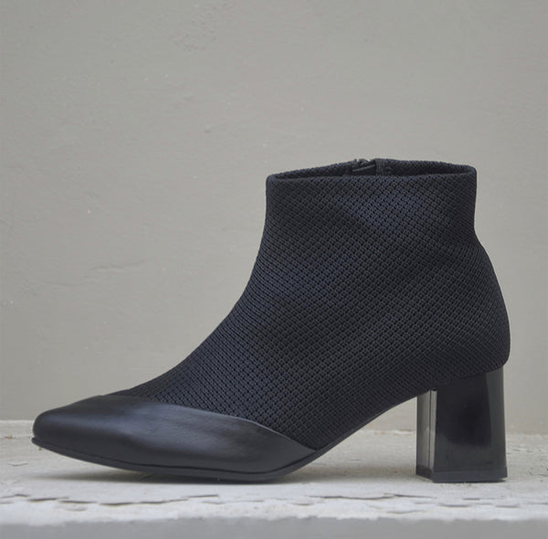 #16 SUPER BLACK MESH BOOTIES - BLOCK HEELS
