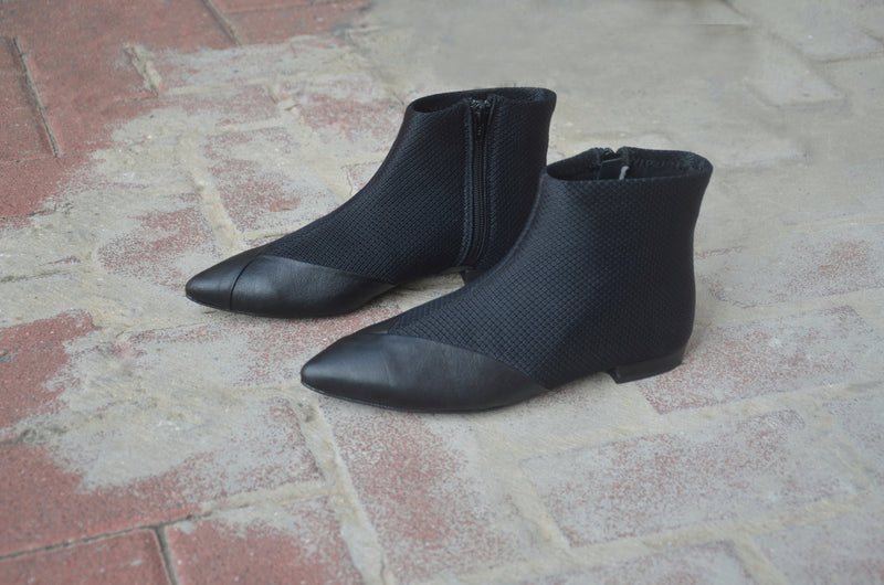 #16 FLAT - SUPER BLACK MESH BOOTIES