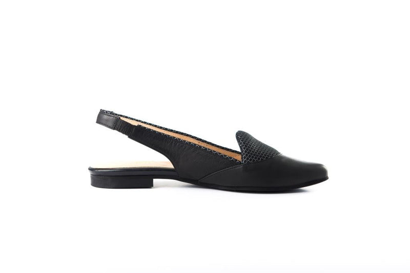 LAST SIZES - Flat Slingback - Black & Black Cushion