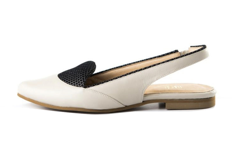 LAST SIZES - Flat Slingback - Stone White & Black Cushion