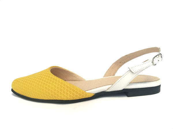 LAST SIZES #7 Flat - Yellow mesh & White
