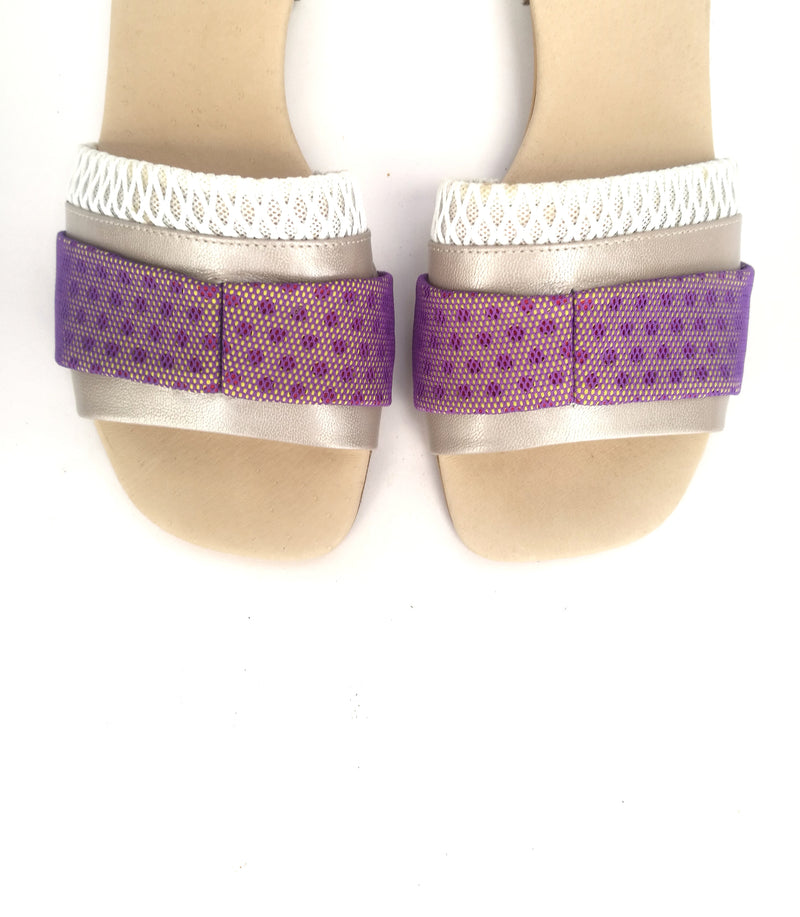 LAST SIZES #8 MESH SLIDES - PURPLE & WHITE