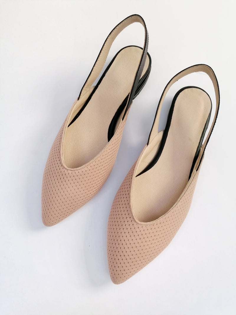 NEW #14 Pale Pink & Black Flats