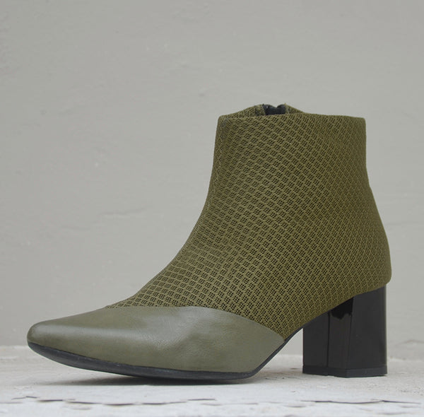 #16 OLIVE GREEN 3D MESH BOOTIES - BLOCK HEELS