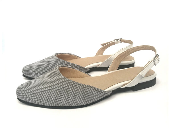 LAST SIZES #7 Flat - Gray knitted mesh & White
