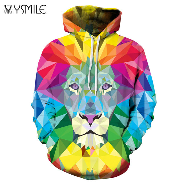 2017 New Fashion Autumn Winter Hoodies Men&Women Thin Sweatshirts With Hat Hoody 3D Print Colorful Lion Hooded Tops Pullovers