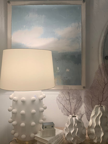 Hamptons Lighting, White polka dot lamp and abstract print