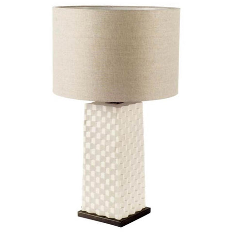 able lamp featuring a ceramic base with an alternating chequered pattern