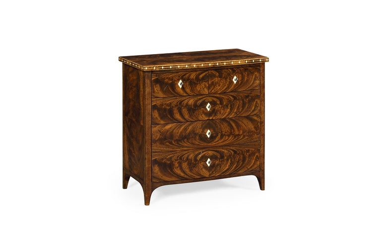 African Walnut veneer small dresser with bone inlay and bow front.