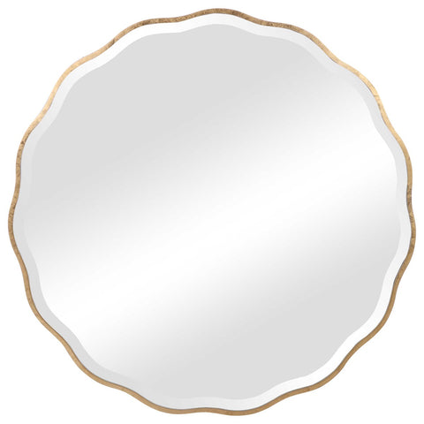 Round Mirror with Aged Gold Finish and Scalloped Edge
