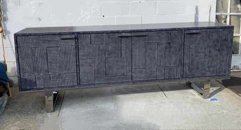 Embossed Navy Blue/Grey Leather Sideboard