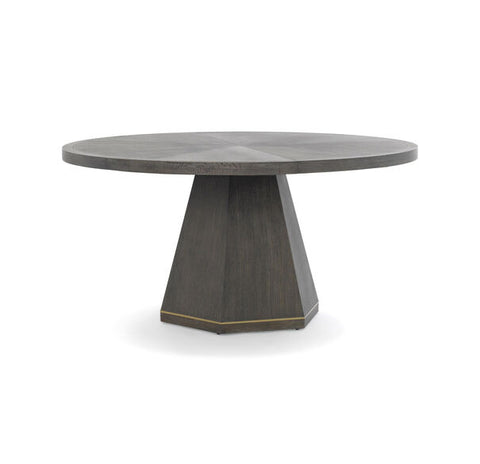 Open Grain Oak Veneer Round Dining Table