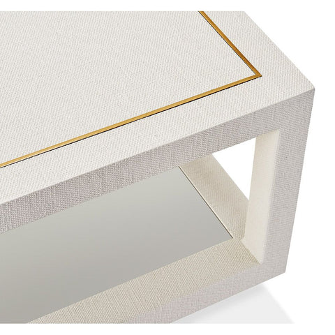Linen Covered Two Tier Coffee Table with metal accents