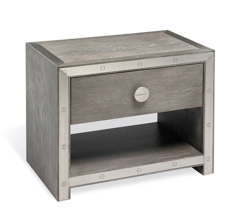 Wood and Steel Trim Nightstand - Hamptons Furniture, Gifts, Modern & Traditional