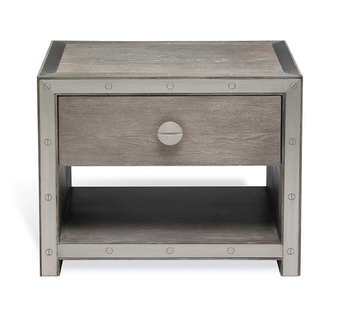 Wood and Steel Trim Nightstand