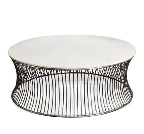 Round Metal & Marble Coffee Table