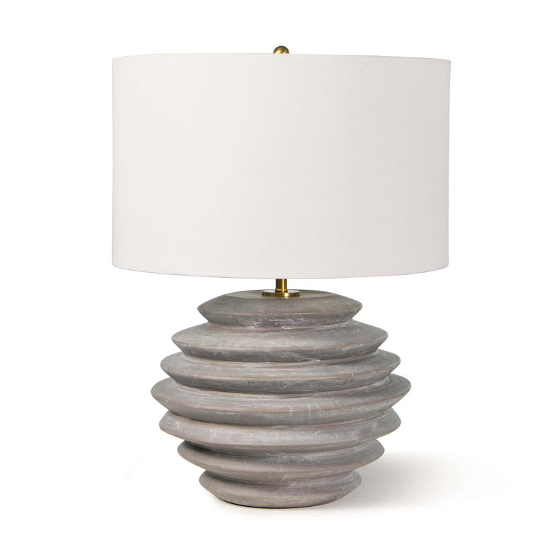 Gray Ceramic Ribbed Table Lamp