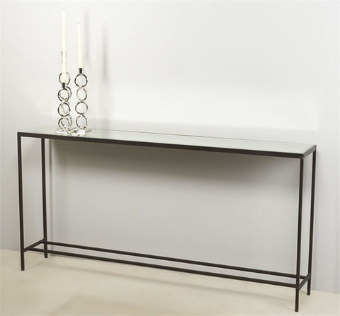 Mirror Top Console with Metal Base