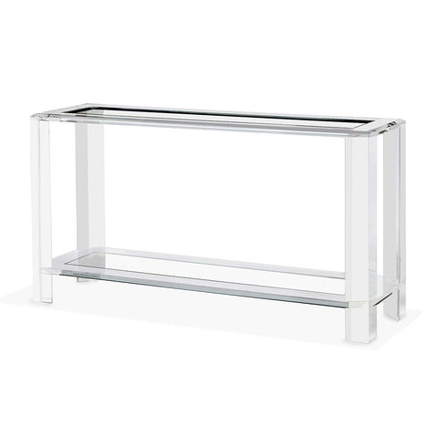 Large Acrylic and Tempered Glass Console Table