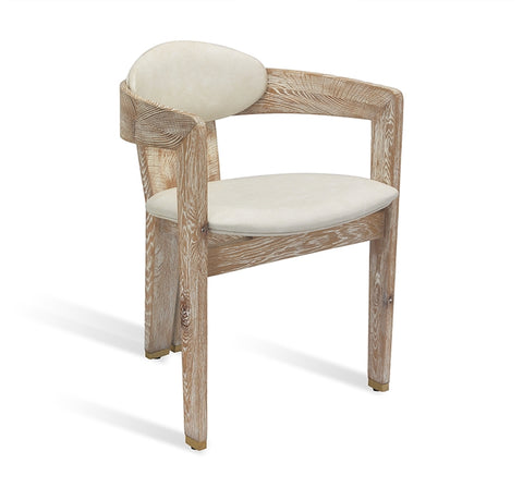 Rounded Whitewashed Dining Chair