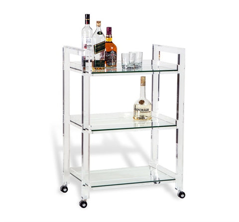 Acrylic and Glass Bar Cart - Hamptons Furniture, Gifts, Modern & Traditional
