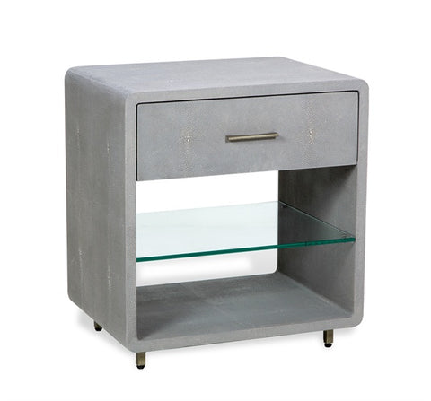 Faux Shagreen Bedside Table