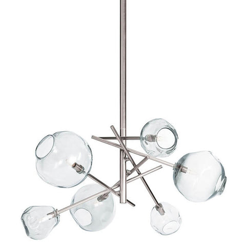 Pendant Chandelier with Molten Glass