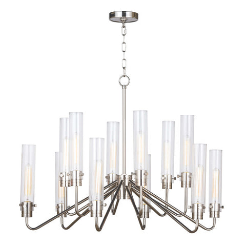 12 light Nickel Chandelier