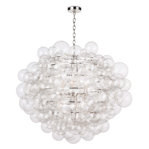 multiple clear glass balls of varying sizes make a dramatic pendant light. Large Glass Bubble Pendant