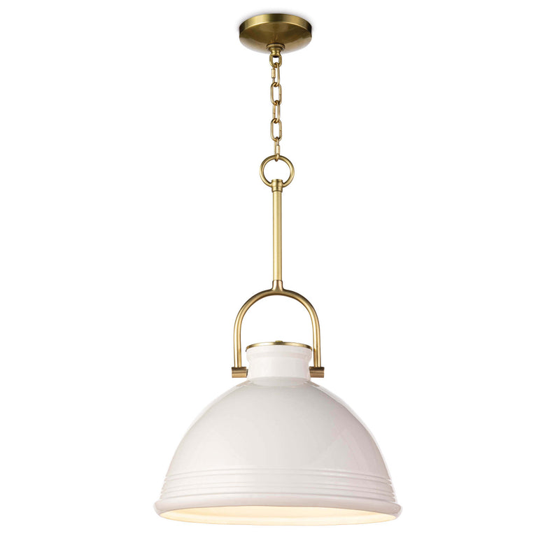 Ceramic Pendant light with Glossy white glaze