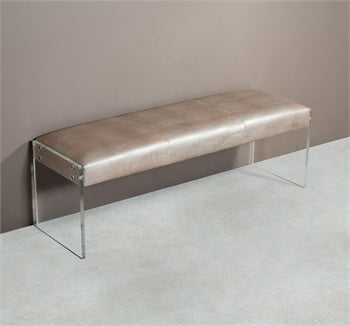 Leather and Acrylic Bench