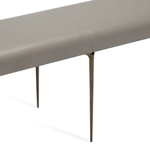 Leather and Stainless Steel Bench in Taupe Leather