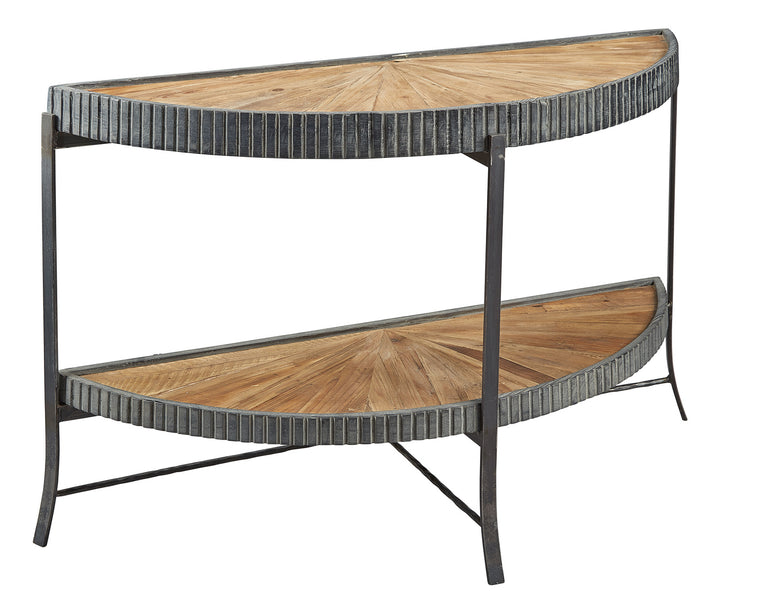 Oak and Metal Demi Lune Console Table - Hamptons Furniture, Gifts, Modern & Traditional