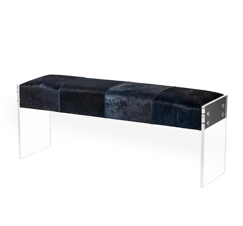 Hair on hide Bench in Blue