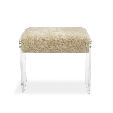 Short Shearling Stool with Acrylic Sides