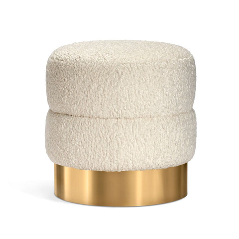 PLush Sherpa Stool with Nickel Base