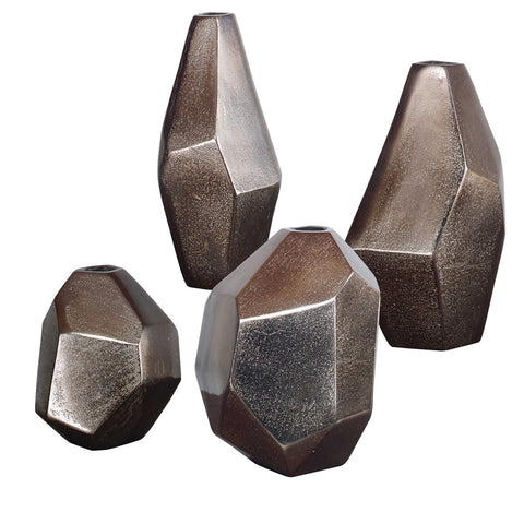 Collection of Geometric Vases in Bronze