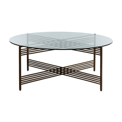 Hammered Metal Glass Coffee Table