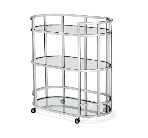 Stainless Steel & Glass Bar Cart